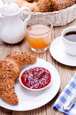 Healthy french breakfast coffee croissant — Stock Photo