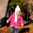Stock Photo: Cute littloe girl playing outdoor in autumn