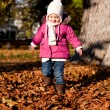 Cute littloe girl playing outdoor in autumn — Stock Photo #18624743