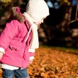 Cute littloe girl playing outdoor in autumn - Stock Photo