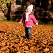 Cute littloe girl playing outdoor in autumn — Foto Stock