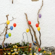 Colorful easter eggs decoration outdoor — Stock Photo