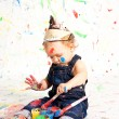 Cute little toddler baby colorful creative - Stock Photo