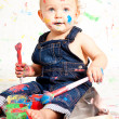 Cute little toddler baby colorful creative — Stock Photo