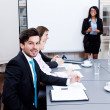 Business team on table in office conference — Stock Photo #18626325