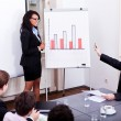 Business conference presentation with team training - Foto Stock