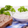 Fresh tasty herbal creme cheese and bread — Stock Photo