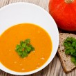 Fresh tasty homemade pumpkin soup — Stok fotoğraf