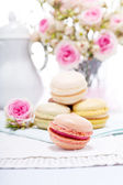 Traditional delicious sweet macarons coffee — Stock Photo