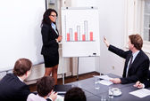 Business conference presentation with team training — Stok fotoğraf