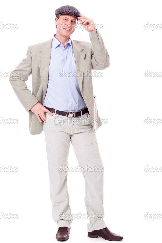 Adult successful smiling man in casual business outfit isolated on white background — Stock Photo #18939007