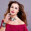 Attractive brunette woman with glamour jewellry - Stock Photo