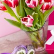 Pink and white tulips present ribbon easter birthday — Stock Photo