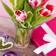 Stock Photo: Pink and white tulips present ribbon easter birthday