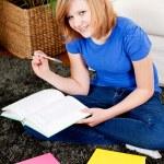 Happy teenager girl doing homework — Stock Photo #21242229