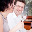 Smiling happy in restaurant — Stock Photo