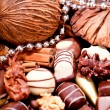 Collection of different chocolate pralines truffels — Stock Photo