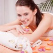Young attractive smilig woman doing wellness spa — Stock Photo