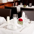 Tables in restaurant decoration tableware empty dishware — Stock Photo #21469401