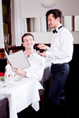 man and woman in restaurant for dinner — Foto de Stock