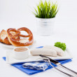 Weisswurst white sausages and sweet mustard with pretzel — Stock Photo #22094487