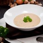 Fresh chmapignon cream soup with parsley — Stock Photo