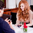 Happy couple in restaurant romantic date - 图库照片