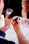 Glückliches paar im restaurant romantisches date — Stockfoto