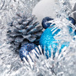 Royalty-Free Stock Photo: Festive glitter christmas decoration silver blue