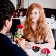 Stock Photo: Happy couple in restaurant romantic date