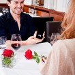 Happy couple in restaurant romantic date — Stock Photo #24132149
