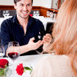 Happy couple in restaurant romantic date — Stock Photo