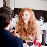 Happy couple in restaurant romantic date — Stock Photo #24132285