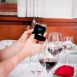 Happy couple in restaurant romantic date - Stock Photo