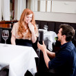 Happy couple in restaurant romantic date — Stock Photo #24133539