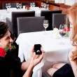 Happy couple in restaurant romantic date — Lizenzfreies Foto