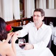 Happy couple in restaurant romantic date — Stock Photo #24136441