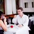 Waiter serve fresh espresso for happy couple — Foto de stock #24136589