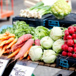 Fresh healthy vegetables on market - Stock Photo