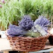 Beautiful violet lavender bouquet in basket — Stock Photo
