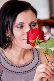 Happy couple in restaurant romantic date — Stock Photo