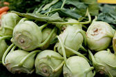Fresh green kohlrabi cabbage on market — Stock Photo