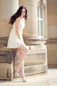 Beautiful woman in sexy dress outdoor in summer — ストック写真