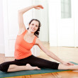 Young attractive woman doing pilates — Stock Photo