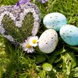 Easter egg decoration outdoor in spring — Stock Photo