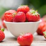 Fresh tasty sweet strawberries macro closeup garden outdoor — Stock Photo #28128475