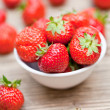 Fresh tasty sweet strawberries macro closeup garden outdoor — Stock Photo #28128517