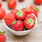 Fresh tasty sweet strawberries macro closeup garden outdoor — Stock Photo #28128521