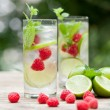 Fresh cold drink water ice cubes peppermint lime raspberry — ストック写真