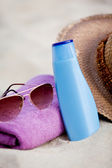 Sunprotection objects on the beach in holiday — Stock Photo
